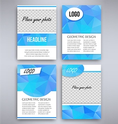 Big set of aqua triangular design flyer template vector image