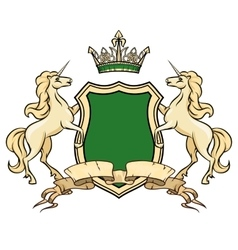 Coat of arms logo template Unicorns with shield vector image
