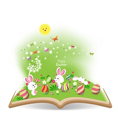 Easter egg and buny funny spring with dandelion in vector
