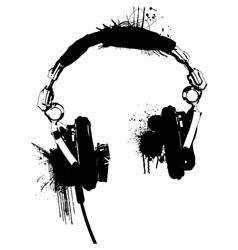 Headphones stencil 2 vector image