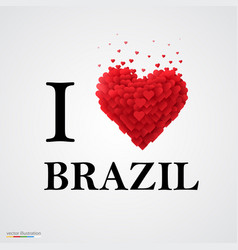 i love brazil font type with heart sign vector image