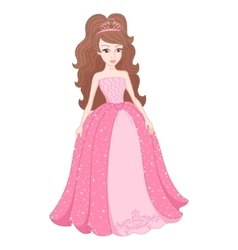 Magnificent princess in gentle pink dress with vector image vector image