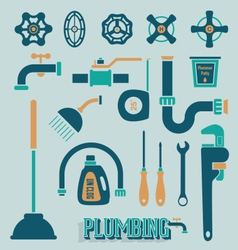 Retro Plumbing Icons and Symbols vector image vector image