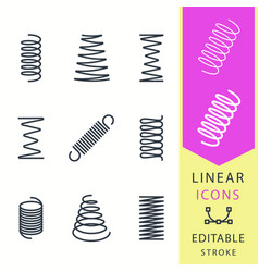 Spring - line icon set editable stroke vector