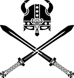 viking helmet and swords second variant vector image