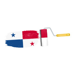 brush stroke with panama national flag isolated on vector image