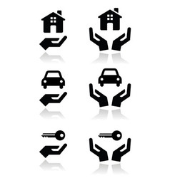 hands house car icons vector image vector image