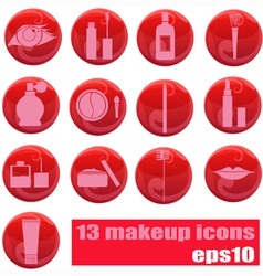 makeup icons on red vector image