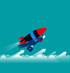 businessman with rocket and flying up vector image