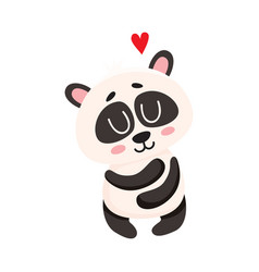 cute and funny baby panda character hugging itself vector image