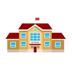 Flat of school building vector