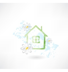 House and flower grunge icon vector image