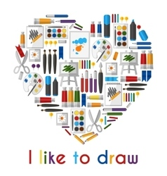 I like to draw Heart of pencils and paintbrushes vector image