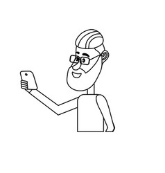 Line nice man with hairstyle and smartphone in the vector