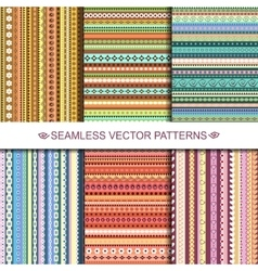 Set of colorful ethnic seamless patterns design vector image vector image