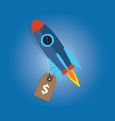 start-up company valuation price sell rocket vector image vector image