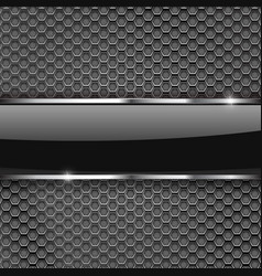 metal perforated background with glass plate vector image vector image