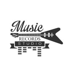 Music record studio black and white logo template vector