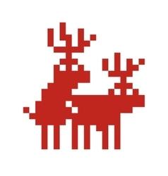 Pixel art style retro game two deers making love vector image vector image