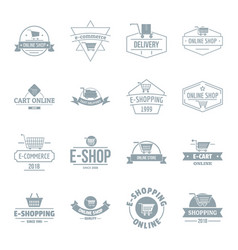 shopping logo icons set simple style vector image vector image