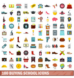 100 buying school icons set flat style vector