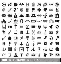 100 entertainment icons set simple style vector