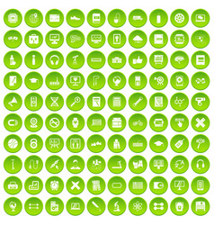 100 training icons set green circle vector