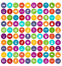 100 urban icons set color vector