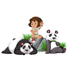 A panda keeper on white background vector