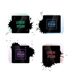 Abstract frame with black splashes vector