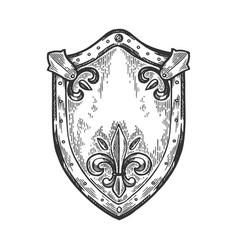 Ancient knight shield engraving vector