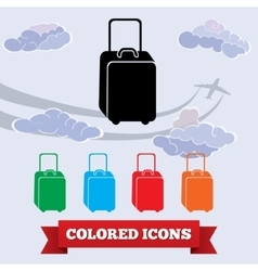 Bag icon Luggage baggage symbol Black red vector image