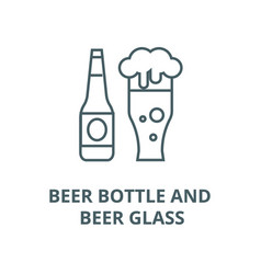 beer bottle and beer glass line icon beer vector image