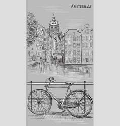 Bike in amsterdam grey vector
