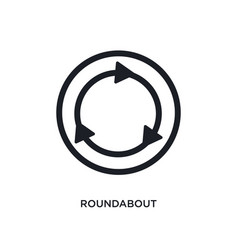 Black roundabout isolated icon simple element vector
