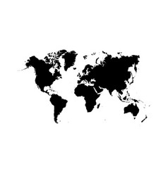 black world map continents planet vector image