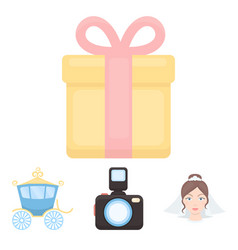 bride photographing gift wedding car wedding vector image