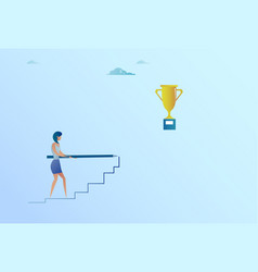 business woman drawing on stairs up to golden cup vector image