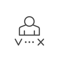 Candidate approving and reject line icon vector