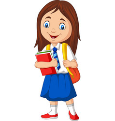 cartoon school girl in uniform with book vector image