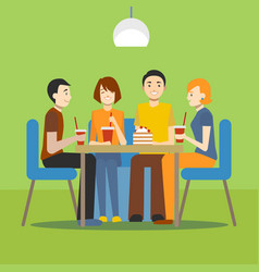 cartoon young people in cafe concept vector image