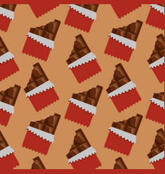 Chocolate bars bitten package seamless pattern vector