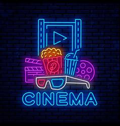 cinema neon bright night signboard vector image