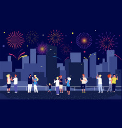 city fireworks people celebrate on street and vector image