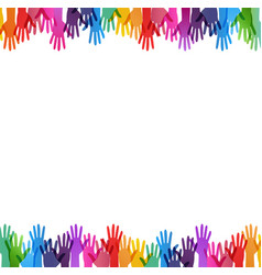 Color hand print border isolated white background vector