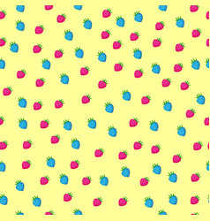 colored strawberry seamless pattern on yellow vector image