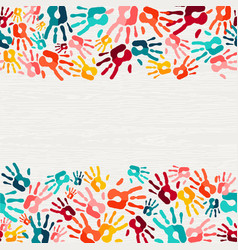 Colorful hand print paint background art vector