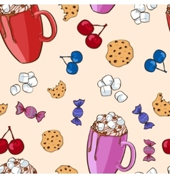 Colorful sweet food pattern vector