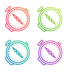 compass outline icon gradient color line logo vector image
