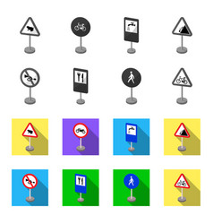 Different types of road signs monochromeflat vector